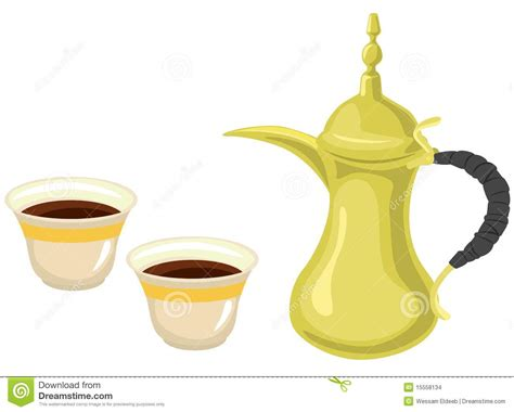 Arabian Golden Coffeepot & Coffee Cups Stock Images   Image: 15558134
