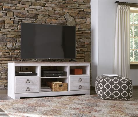 willowton whitewash lg tv stand wfireplace option