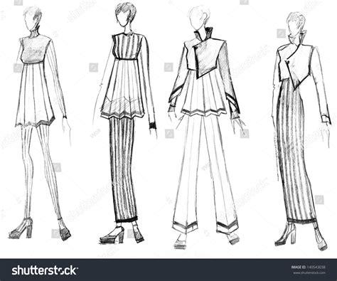 fashion illustration range sketch fashion model range striped stock illustration 140543038