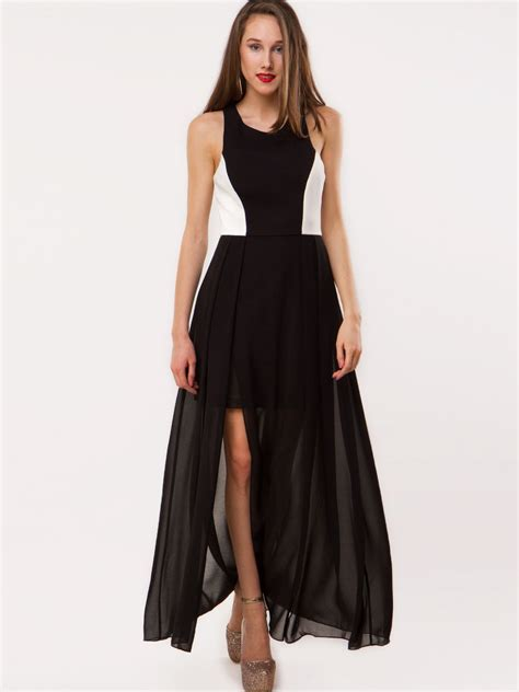 buy maxi dress with sheer skirt for s black
