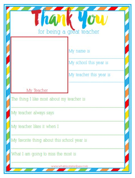 printable thank you notes from teachers to students thank you for being a great teacher end of year gift