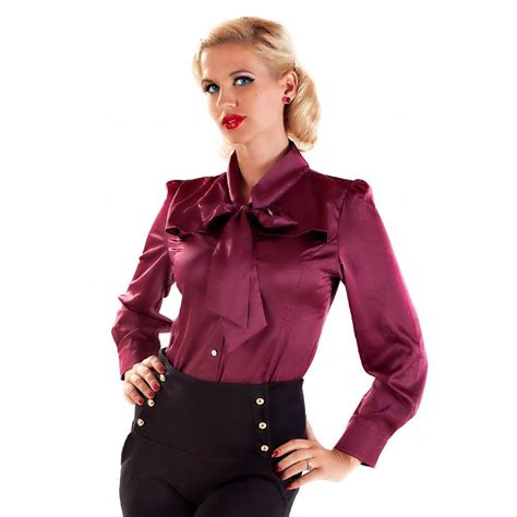 Blouse Katun C Bow bernadette vintage fifties style bow blouse style work satin fifties