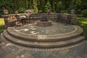 raised paver patio gas pit sitting wall with