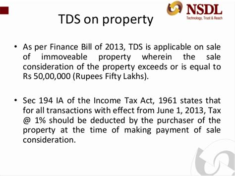 section 50 income tax act e tutorial tds on property
