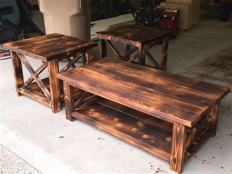 farmhouse coffee table and end tables find more rustic x farmhouse style coffee table and end