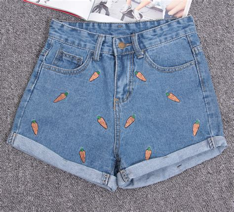 Embroidery Denim Shorts carrot embroidery denim shorts on luulla