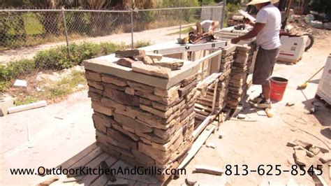 Outdoor Stacked Fireplace Built In Green Egg Outdoor Kitchen With Pizza Oven Cultured Stone Granite