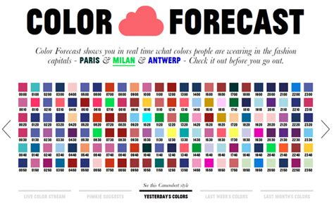 color forecast color forecast predicts color trends in european fashion