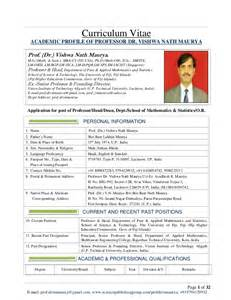 Curriculum Vitae Examples cv of prof dr vishwa nath maurya for post of professor