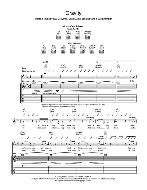 coldplay gravity lyrics gravity guitar tab by coldplay guitar tab 40270