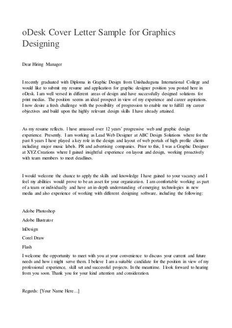 Cover Letter Dear Hiring Manager Odesk Cover Letter Sle For Graphics Designing