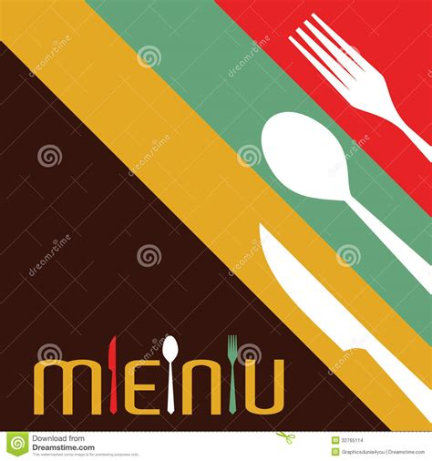 L Kitchen Layout template for menu card with cutlery stock images image