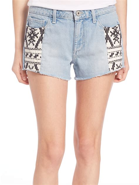 pattern for jeans shorts lyst paige keira pattern inset denim shorts in blue