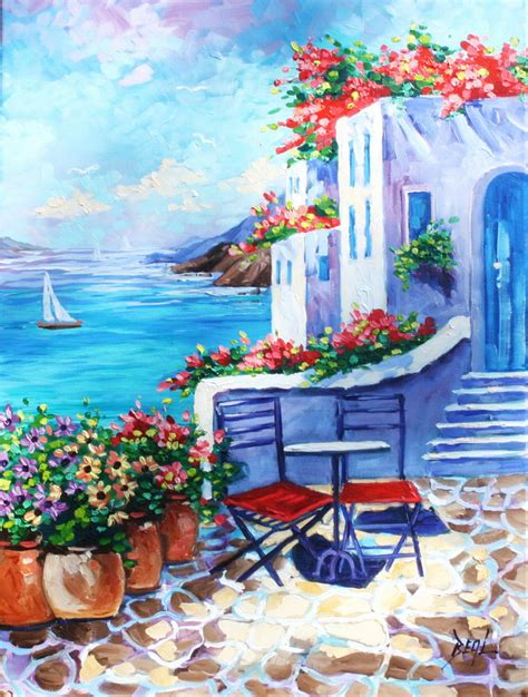paint with a twist greece painting greece original rbealart flowers sailboat