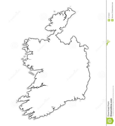 Ie Map Area Outline by Ireland Outline Map With Shadow Stock Illustration Illustration 4172254