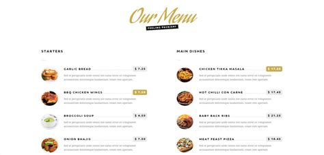 one page menu template hungry premium responsive one page restaurant