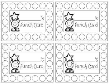 punch cards freebie teaching pinterest classroom