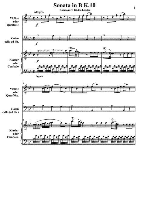 sonata section names violin sonata in b flat major k 10 mozart wolfgang