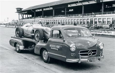 classic mercedes race cars cmc m 143 mercedes benz racing car transporter 1955