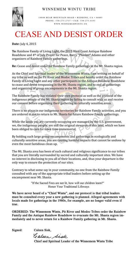 winnemem wintu issue cease desist order to rainbow family
