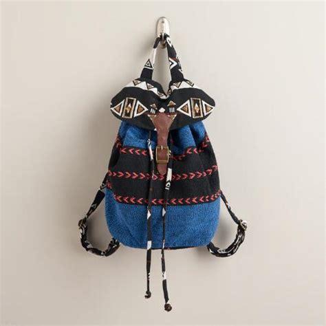 blue tribal backpack world market