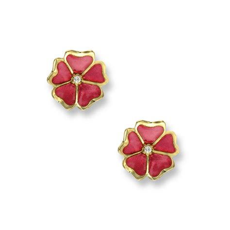 Blue Flower Stud Earrings Gold pink flower stud earrings 18k gold neg063wb