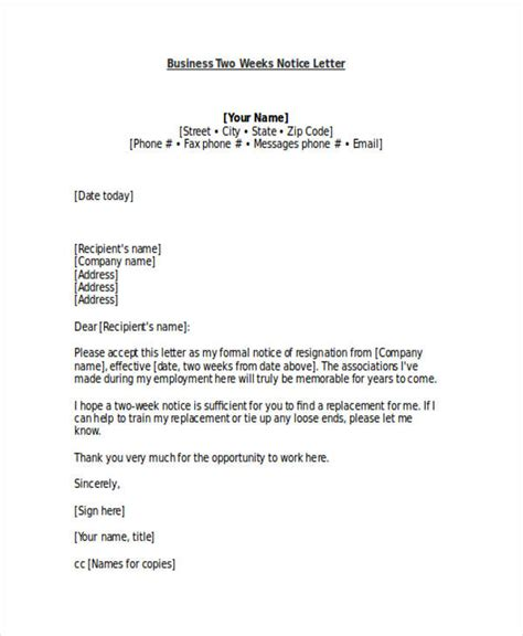 business letter notice 19 two weeks notice letter exles sles