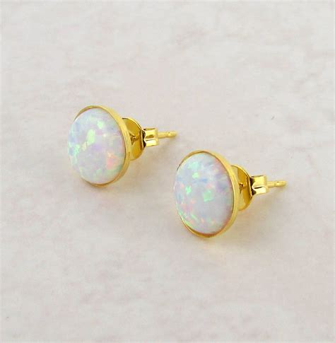 white opal earrings white opal stud earrings by misskukie notonthehighstreet com
