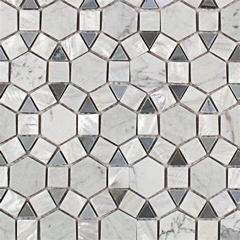 Marble Mosaic Floor Tile Splashback Tile Noble Hexagon Pearl White And Moonstone Marble Tile 3 In X 6 In Tile