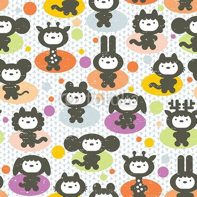 tessuti fiorati animals seamless pattern 92198868 fototapety