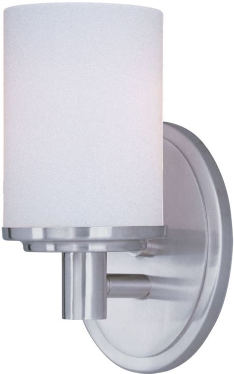 single bathroom light fixtures maxim 9051swsn satin nickel cylinder 4 quot wide single bulb