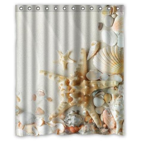 seashell shower curtains buy seashells and starfish waterproof polyester fabric
