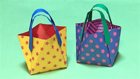 origami paper bag pattern how to make a origami bag without glue easy pretty mini