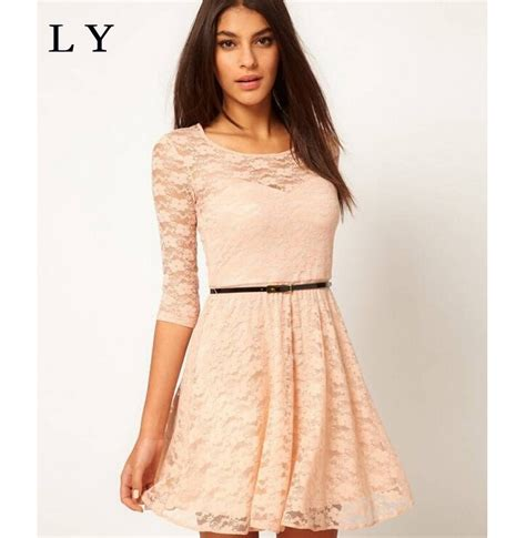 Lace Sleeve Hollow Dress With Belt aliexpress buy new summer style collar dress pleated hollow lace dress