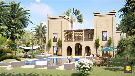 maison marocaine avec patio perspective architecture d un hotel au maroc 3dgraphiste fr