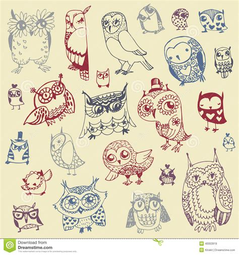 doodle draw the owl doodle collection vector stock vector