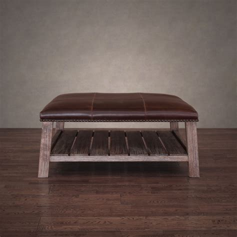 Old And Vintage DIY Custom Ottoman Coffe Table Using Reclaimed Wood With Dark Brown Leather Top