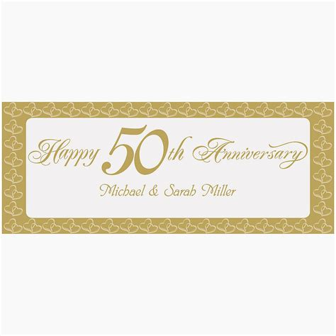 Wedding Anniversary Banner Ideas by Personalized Two Hearts Happy 50th Anniversary Banner