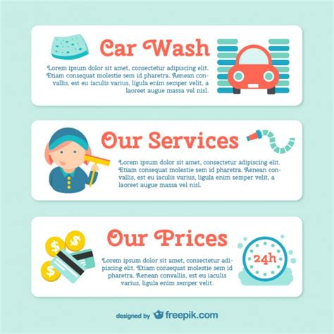 car wash banner template vector free download