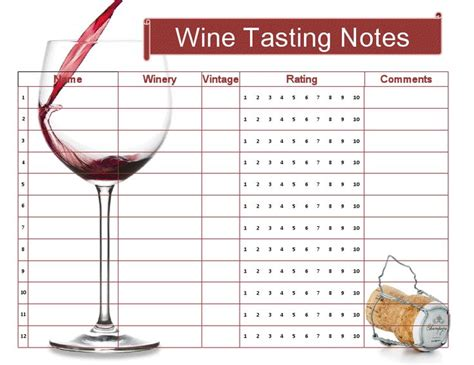 Wine Tasting Sheet Template by The Gallery For Gt Wine Tasting Score Cards