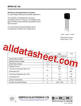transistor mpsa92 datasheet mpsa92 datasheet pdf semtech electronics ltd