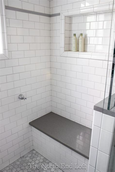 White Tiled Bathrooms by Best 25 Subway Tile Showers Ideas On Grey