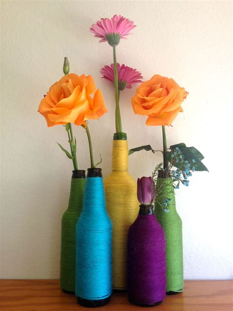 How To Make Bottle Flower Vase by How To Turn A Bottle Into A Colorful Flower Vase