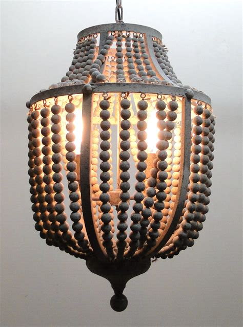 wood bead light fixture gray aged iron and wooden bead chandelier hanging light