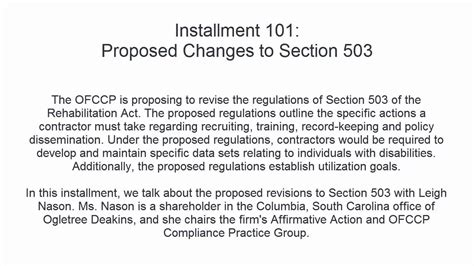ofccp section 503 proposed changes to section 503 with leigh nason youtube