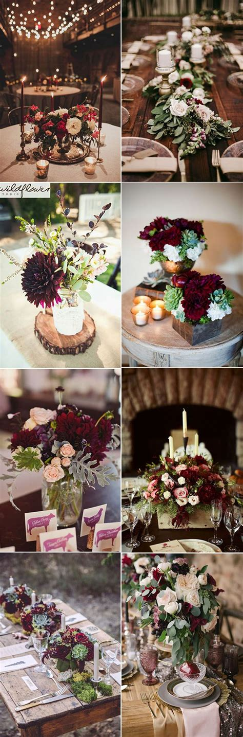 50 refined burgundy and marsala wedding ideas for fall brides wedding centerpieces