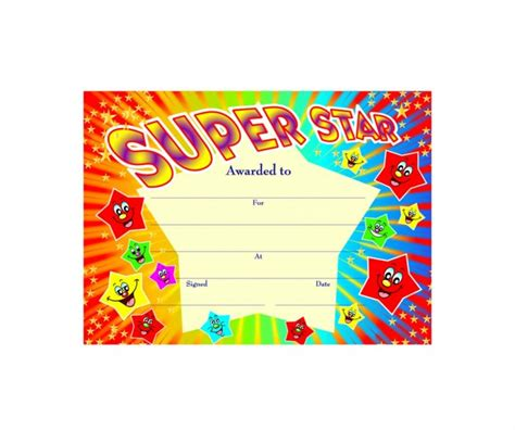 Super Star' starburst certificate   School Merit Stickers