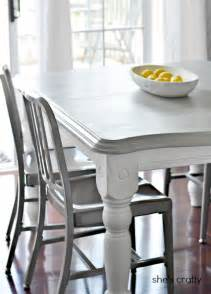 Gray Kitchen Table And Chairs She S Crafty Gray And White Painted Kitchen Table