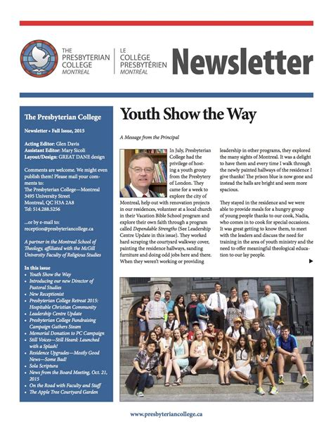 College Newsletter Presbyterian College Newsletter 2015 2 Presbyterian College