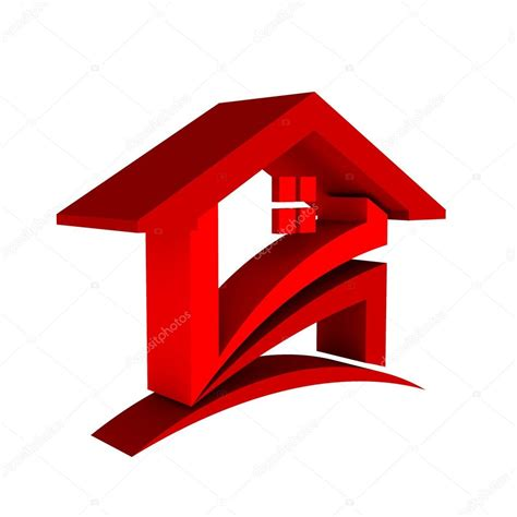 home design 3d logo 3d red house logo stock photo 169 deskcube 36834189